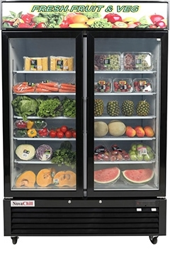 two door fridge with vege