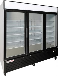 Triple door display freezer